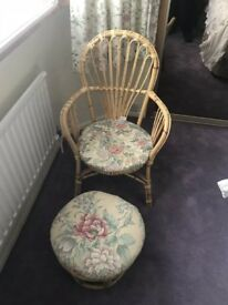 Bedroom Chair with Foot Stool