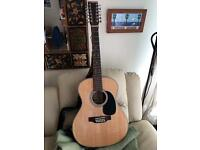 12 string semi acoustic Sigma guitar with pick up, tone, tuner brand new