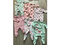 Baby girls 0-3 Sleepsuits bundle next & george