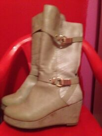 Long beige River Island boots