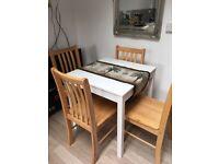 4 good sturdy hard wood dining chairs,