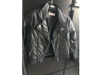 Girls H and M faux leather biker jacket age 9-10 as new never worn