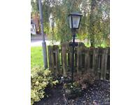Garden light lamp. Metal with concrete base