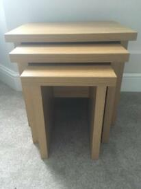 Oak nest of tables/side tables