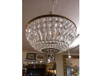 ANTIQUE-LARGE-BASKET-CRYSTAL-CHANDELIER-IN-VERY-GOOD-CONDITION
