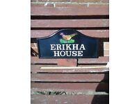Beautiful galvanised metal house sign