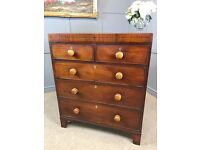 Georgian Mahogany Chest Of Drawers - Antique 2 Over 3 Drawers
