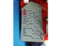 GARDEN party wooden sign...
