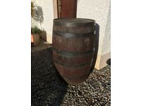 Wooden whiskey barrell.