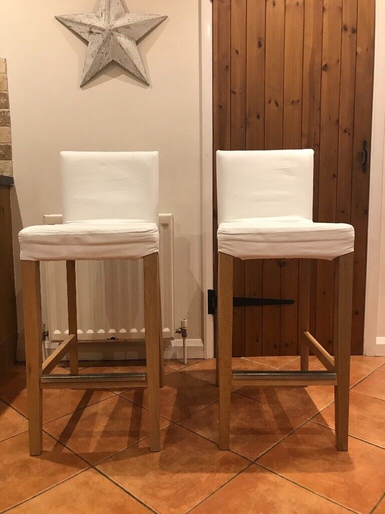 Remarkable 2 X Ikea Henriksdal Bar Stools White And Wood In Guildford Surrey Gumtree Creativecarmelina Interior Chair Design Creativecarmelinacom