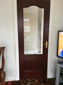 Internal doors with etched glass pattern in glass with Carlisle brass Ironmongery handles