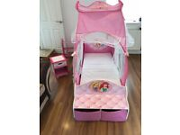 Kids princess cot bed and bed side cabinet