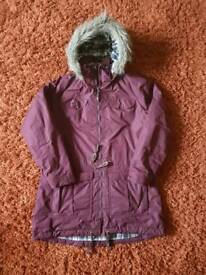 Ladies 16/18 Trespass Dolly waterproof long Parka in aubergine