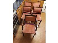 5 X Dark Wood / Pink Dining Chairs