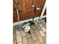 2 Kids Scooters, working order, one with helmet - £5 each
