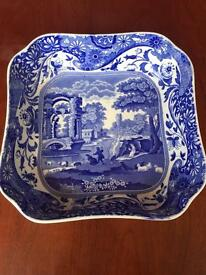 Large square Copeland Blue Italian Spode vegetable dish
