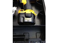 Dewalt cordless drill De9501 with two batteries.