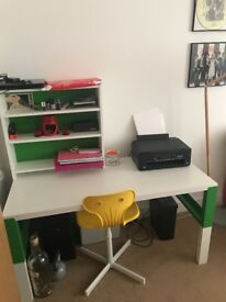 Lovely adjustable ikea desk, chair and shelves