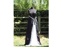 UK Size 12 Sousourada Beautiful Black & White Formal Prom Dress Ball Gown