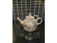 Brand New Classic Clear Glass Tea Teapot / Coffee Handle & Lid