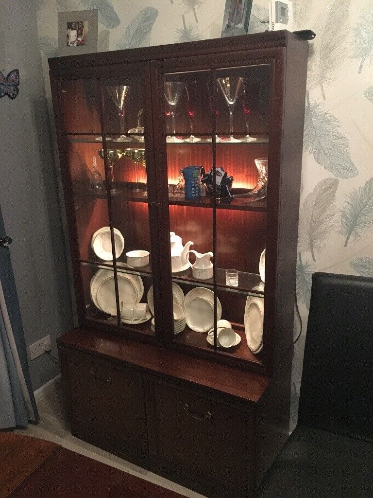 G plan mahogany light up display cabinet with double cupboard underneath. Good condition