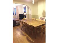 Bespoke 8 Seater Pine Dining Room Table and 8 Beech Chairs