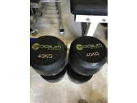 Pair of 40kg Commercial Rubber Dumbbells - Weights Gym