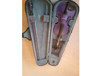 Purple 3/4 size violin, good condition with bow and case. Free childrens violin books if wanted