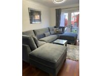 Ashwin U-Shape sofa in Black Grey and Pink in Scatter Back (Plus Velvet in Heigh Back)