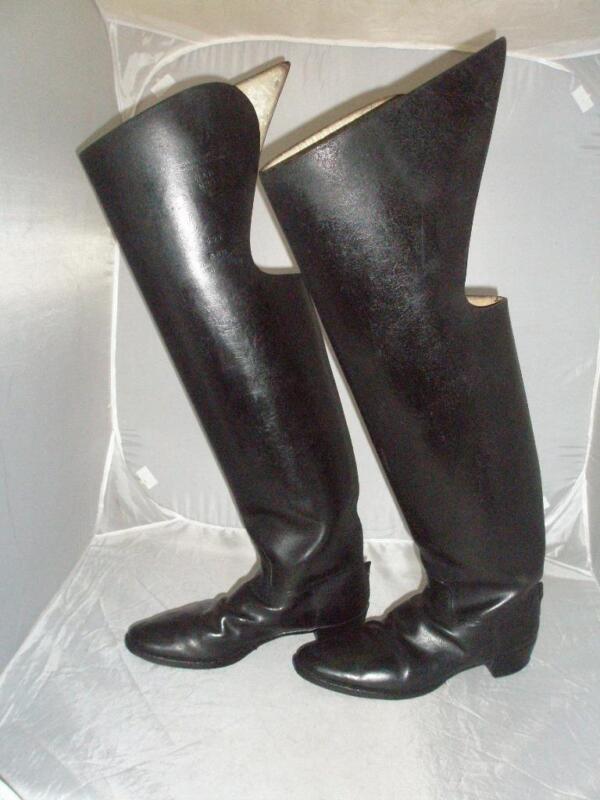 *ANTIQUE CEREMONIAL JACK BOOTS- BLACK LEATHER- UK SIZE 9- ROYAL HORSE GUARDS*