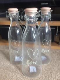 Love Glass Bottles x 3