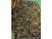 Ikea Vilsund rug - navy and tan paisley with fringe - 235 cm x 160 cm