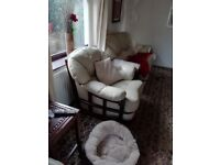 2 x large matching cream leather chairs