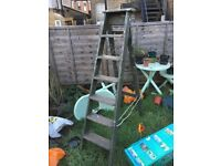 VINTAGE WOODEN FOLDING STEP LADDER