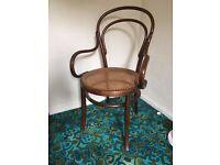 Antique Art Deco Bentwood cane armchair elbow chair vintage cafe seat c1940