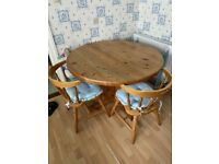 A GREAT QUALITY SOLID PINE TABLE & 4 SOLID PINE CHAIRS GOOD USED CONDITION FREE LOCAL DELIVERY POSS
