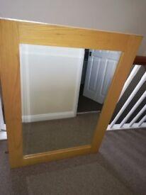 Wooden bevelled mirror