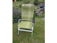 Coleman recliner chair, green, excellent condition