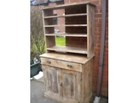 VICTORIAN PINE UNIT CUBBOARD DRAWER AND PLATE OR STORE RACK NEEDS POLISH AND WORK