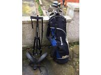 Dunlop 2 wheeled golf trolley with hawson golf bag and clubs