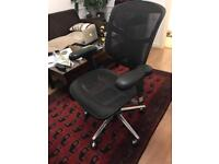 Reclining Mesh/Leather Computer Desk Chair