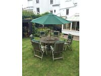 6 Seater Solid Teak Garden Set including Table, Chairs, Parasol and Cushions