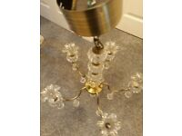 Maison Ceiling Ornate Glass Crystal and Brass Tulip 5 Armed Chandelier Fitting with Brackets