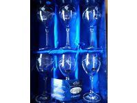 Set of 6 new Duiske white wine glasses, ideal wedding/anniversary gift.