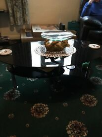 Glass coffe table, lamp table and nest of tables