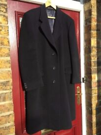 Hammersely traditional mens wool cashmere blended warm overcoat. Black. 42R. VGC