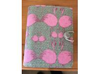 Small material covered Filofax with flamingo print