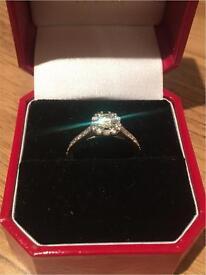 18 carat white gold halo 0.75 carat diamond ring