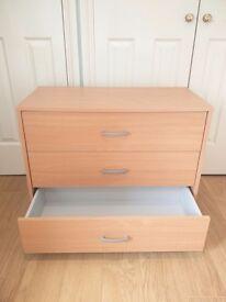 Wooden drawer, 3 large drawers 77 cm x 40 cm
