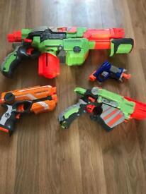 Nerf Guns - firestrike elite and jolt (bullets), and vortex proton and vortex praxis (discs)